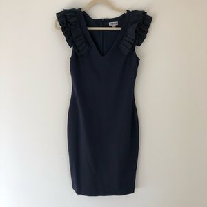 Navy Blue Cocktail Dress with Ruffle Sleeves